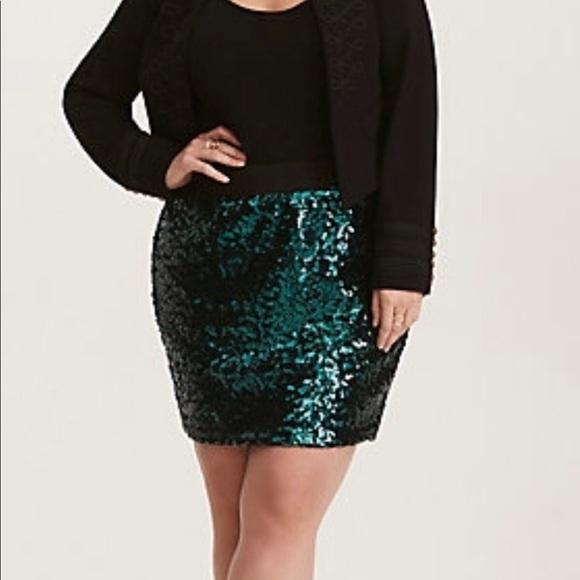 5c418093b467d Torrid Emerald Green Sequin Mini Skirt pinup
